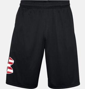 Under Armour Men's UA Freedom Tech Big Flag Logo Shorts 1359349-001 Black