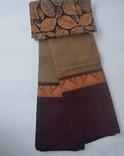 South Cotton pure handloom saree Straw colour with coffee border classic