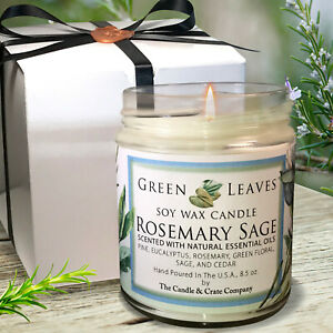 Handmade Rosemary Sage Soy Candle 8.5oz Amazing Scent Free Gift Box And Shipping