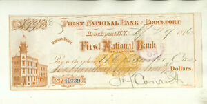 1876 FIRST NATIONAL BANK BROCKPORT NEW YORK DRAFT/CHECK