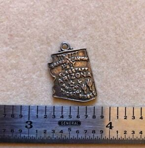 VINTAGE ARIZONA STATE MAP STERLING SILVER CHARM