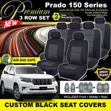 Premium Black SEAT COVERS for Toyota Prado 150 SERIES GXL GX 3ROW's 10/2009-19