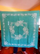 Vintage Embroidered Needlepoint Linen Tablecloth Green Roses St. Patricks Day