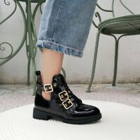 Womens Fashion Punk Gothic Buckle Strap Motorcycle Boots Chunky Mid Heels Shoes