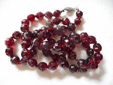"Vintage faceted deep red garnet knotted necklace, 24"""