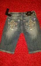 "Miss Me Bermuda Jean Shorts Bling Crystal Cross Size 24"" Style# MY7047M **MV**"
