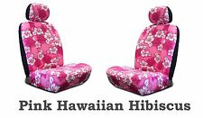 Pink Hawaiian Hibiscus Print Low Back Seat Covers Fit's Most SUV's,Cars & Trucks