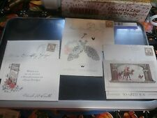 Vtg 1930s Lot Greeting Card Christmas Envelopes Postage Stamps  -B