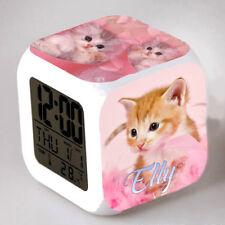Reveil cube led lumière nuit clock chat mignon personnalisé prénom réf 31