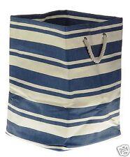 New England Blue & White Stripe Heavy Duty Fabric Large Square Storage Bag