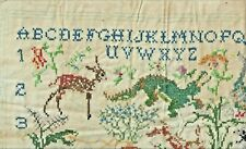 """13 X 17""""VINTAGE CROSS STITCH LINEN SAMPLER ABC's NUMBERS ZOO ANIMALS-YOU FINISH"""