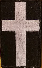 Christian Cross Emblem  Iron-On Patch Black & White Version Black Border