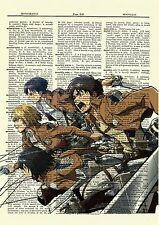 Eren Mikasa Armin Levi Attack On Titan Anime Dictionary Art Print Team Poster