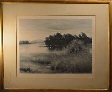 Alfred Brunet Dabaines Original Etching of English Landscape, Dated 1887, NICE!