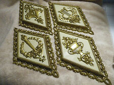 New listing 1971 Homco Wall Plaques Set of 4 Home Interior Gold Diamond Shaped Harp Flowers