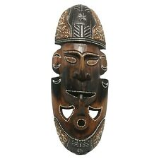 African Style Wood Mask Hand Carved Smoking Pipe Face Wall Hanging Folk Art
