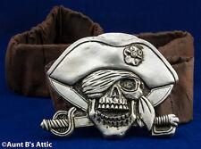 Pirate Belt Silver Resin Pirate Skull Stretch Elastic Costume Belt