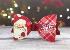 "Any Name Red Santa ""NICE LIST"" Glitter Hair Bow - Personalised Christmas Bow"