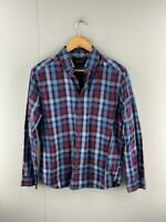 Nautica Mens Blue Maroon Check Vintage Long Sleeve Button Up Shirt Size Medium