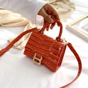 Soft Top Handle Faux Leather Mini Tote Alligator Handbag Crossbody Bag