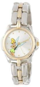 Disney Women's TK2020 Tinkerbell Silver Sunray Dial Two-Tone Bracelet Watch
