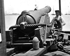 New 8x10 Civil War Photo: 100 Pounder Cannon Gun on Confederate Gunboat TEASER