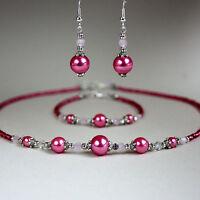 Pink pearl crystal collar necklace bracelet earring silver wedding jewellery set