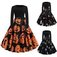 Women Halloween Pumpkin Skull Printed Fancy Dress Ladies Party Smock Swing Dress