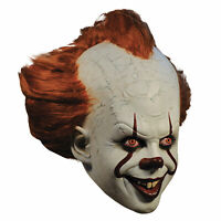 Adult Men's DELUXE Pennywise IT Killer Clown Halloween Costume Full Mask w/ Hair