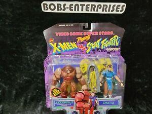 1998 Toy Biz Capcom X Men vs Street Fighter Juggernaut Chun Li Action Figure x2