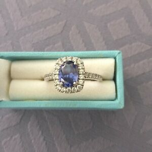 Diamonique STERLING SILVER TANZANITE Cluster RING with Clear Stones from QVC