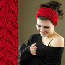 Red Thick Warm Knitted Arrow Headband Hair Band Stretch Girls Teens Adults