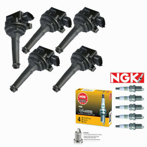 5 Pack ignition Coil + NGK Spark Plugs For Volvo C70 S70 XC70 XC90 S60