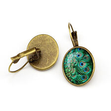 Retro Jewelry Green Mixed Blue Peacock Feather Hoop Earrings For Young Girls