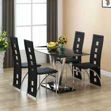 ANJOHN 6 Seater Black Glass Dining Table High Gloss Chrome 'V' / Leather Chairs