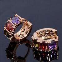 18k Gold Plated Multicolor Crystal Jewelry Luxury Stud Hoop Earrings