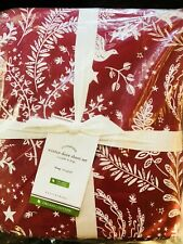 Pottery Barn Winter Dove King Size Sheet Set Organic Cotton New Christmas Red
