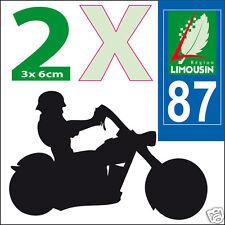 2 stickers autocollants style plaque immatriculation moto Département  87