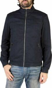 Geox Respira Men's Navy Blue 100% Cotton Casual Full Zip Jacket Size 38 NWT $275