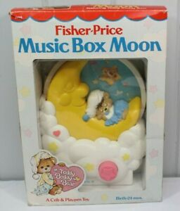 Vintage Fisher-Price Music Box Moon 1985 Teddy Beddy Bear Music Toy for crib