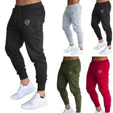Mens Slim Fit Tracksuit Gym Sports Skinny Jogging Joggers Sweat Pants Trousers