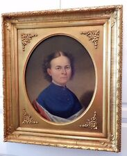 Antique LADY Oil Portrait PATRIOTIC AMERICAN Flag Colors PAINTING Gold Frame