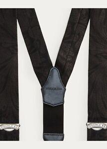 New RRL Ralph Lauren Floral Silk Black Jacquard Suspenders Braces Men's