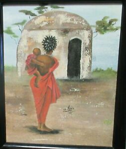 "ANNIE LEE ""MOTHER AND CHILD"" VILLAGE AFRICAN GICLEE ON CANVAS PAINTING"