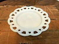 """Vtg Hazel Atlas White Milk Glass 8 1/4"""" Lace Edge American Folk Dessert Plate"""
