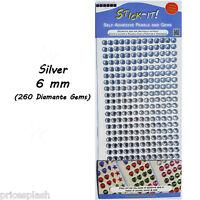 Silver Self Adhesive Clear Diamante Stick On Crystal Sticky Rhinestone Gems