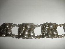 vintage sterling silver bracelet with repousse fruits grapes pineapple aesthetic