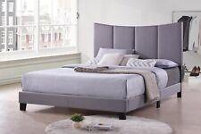 Kings Brand Furniture - Corinth Smoke Gray King Size Upholstered Bed