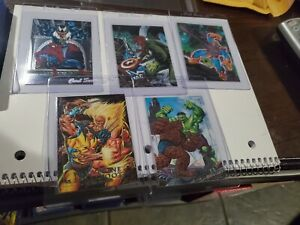 1992 MARVEL MASTERPIECES  FOIL BATTLE SPECTRA 5 CARD INSERT CHASE SET