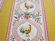 P. Kaufmann Rooster Toile Stripe Fabric French Country Provence Brand New BTY!